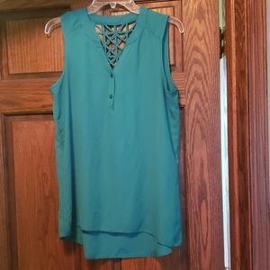 BCX green blouse with decorative backm size large